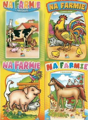 (093) Na farmie. Malowanka z naklejkami MIX - praca zbiorowa - Książki Książki dla dzieci
