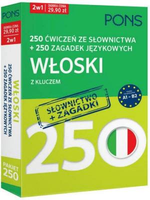 250 ćwiczeń ze słownictwa Włoski + 250 zagadek - Opracowaniezbiorowe - Książki Książki do nauki języka obcego