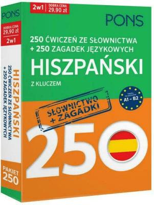 250 ćwiczeń ze słownictwa Hiszpański + 250 zagadek - Opracowaniezbiorowe - Książki Książki do nauki języka obcego