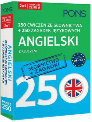 250 ćwiczeń ze słownictwa Angielski+ 250 zagadek - Opracowaniezbiorowe - Książki Książki do nauki języka obcego