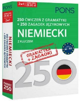 250 ćwiczeń z gramatyki Niemiecki +250 zagadek - Opracowaniezbiorowe - Książki Książki do nauki języka obcego