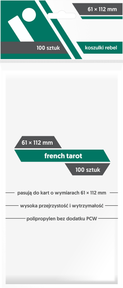 Koszulki na karty 100. 61x112mm. French tarot.