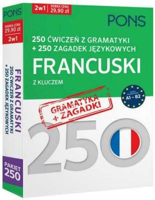 250 ćwiczeń z gramatyki Francuski + 250 zagadek - Opracowaniezbiorowe - Książki Książki do nauki języka obcego