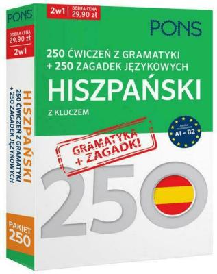 250 ćwiczeń z gramatyki Hiszpański + 250 zagadek - Opracowaniezbiorowe - Książki Książki do nauki języka obcego