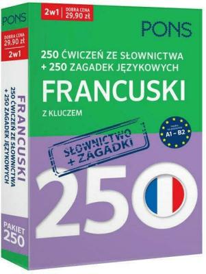 250 ćwiczeń ze słownictwa Francuski +250 zagadek - Opracowaniezbiorowe - Książki Książki do nauki języka obcego