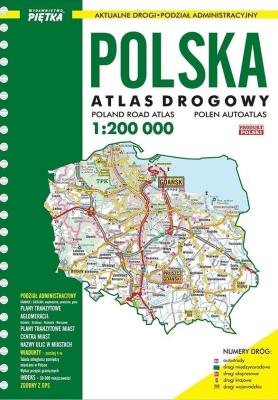 Atlas Polski 1:200 000 drogowy - Piętka - Książki Mapy, przewodniki, książki podróżnicze