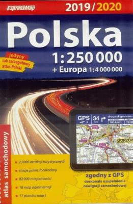 Atlas samochodowy Polska 1:250 000 2019/2020 - praca zbiorowa - Książki Mapy, przewodniki, książki podróżnicze