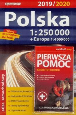 Atlas samochodowy Polska 2019/20 + Pierwsza pomoc - Opracowaniezbiorowe - Książki Mapy, przewodniki, książki podróżnicze