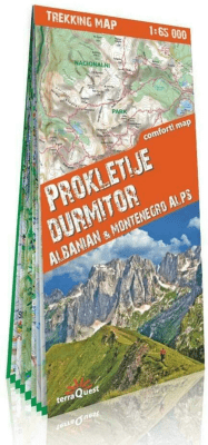 Alpy Albani i Czarnogóry Durmitor i Prokletije 1:65 000 - Opracowaniezbiorowe - Książki Mapy, przewodniki, książki podróżnicze